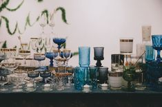 love the mix of blues and golds in this glassware