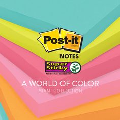 The Post-it Miami Color Collection celebrate bright colors to keep your attention on the task at hand.