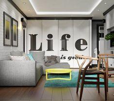 Продуманный дизайн квартиры в хрущевке превратил типовое жилье с маленькой кухней, узкой прихожей и неудобной формы спальней в современное, комфортное пространство.