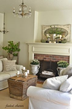 Cottage Farmhouse Living Room with Brick Fireplace and Traditional Wood Mantel Cottage Living, My Living Room, Cottage Style, Home And Living, Living Room Decor, Living Spaces, Country Decor, Farmhouse Decor, Cottage Farmhouse