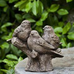 Campania International, Inc Three's Company Statue Color: Ferro Rustico Small Garden Statues, Bird Statues, Outdoor Statues, Bird Types, Three's Company, Classic Garden, Theme Color, Garden Fountains, Cast Stone