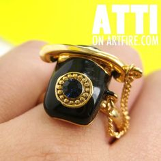 $10 Adjustable Miniature Vintage Dial Telephone Ring in Black and Gold