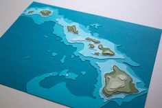 Papercut art - Hawaiian Islands w/ topography 8 x 10 layered by Crafterall. So cool! You can get your fav place made into art like this. #unique #wedding #gift
