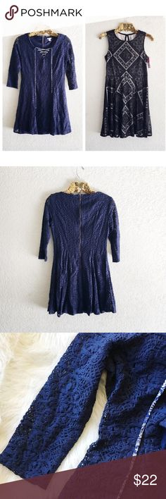 Dress Bundle (2) Lace Up Navy Lace Dress + Black Skater Dress   Price is for both dresses and both are size medium. One is new with tags and other is new without tags. Xhilaration Dresses Mini