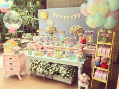 5th Birthday Party Ideas, Birthday Party Tables, Birthday Bash, Princess Peppa Pig Party, Happy Birthday Princess, Bolo Da Peppa Pig, Cumple Peppa Pig, Princess Party Decorations, Birthday Party Decorations
