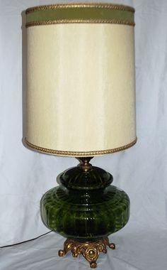 Mid Century Eames Era Massive GREEN GLASS Table Lamp & Original Shade GORGEOUS