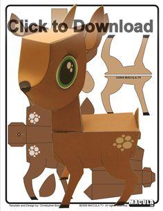 Deer printable paper toy