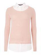 Womens **Tall Blush Shirt 2 in 1 Jumper- Pink