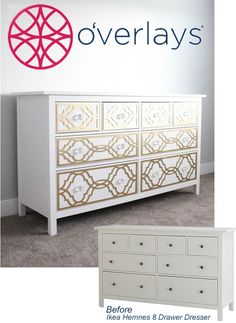 Makeover the Ikea Hemnes Dresser with O'verlays Khloe painted gold.  An easy beautiful DIY.
