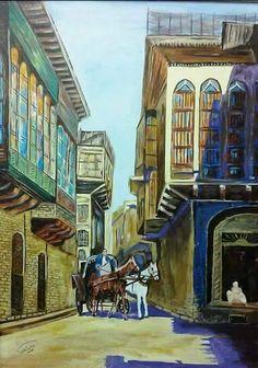The Iraqi artist . Cradle Of Civilization, Old Egypt, Virtual Art, Tile Murals, Drawing Reference Poses, Arabic Art, Baghdad, Beautiful Buildings, Islamic Art