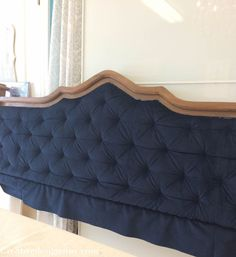Blue tufted headboard DIY with a thrift store headboard!