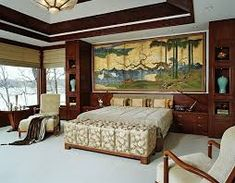 Image result for asian floor screen behind bed