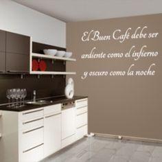 Vinilos decorativos de paredes con textos, con frase sobre el buen café