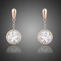 Dangling Elegant Clear Stellux Austrian Crystal Water Drop Wedding Earrings  for Women TE0244  3ff9459b95ee