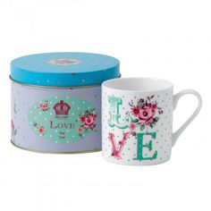 New Country Roses Love Mug In Tin