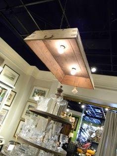 Lighting made from a wood tray.   I have a large metal tray that would be Beautiful.   Great Lighting Idea