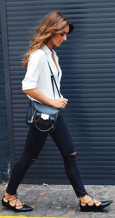 Raspberry And Red White Simple Button Down Black Ripped Skinnies  Black Lace Up Pointy Flats