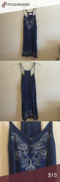 Abercrombie kids sun dress Abercrombie kids strap dress. Has gold stitching. Hip adjustable string. In great pre owned condition. Has no rips, stains or smells. Abercrombie kids  Dresses