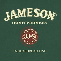 Jameson is a blended Irish whiskey produced by the Irish Distillers subsidiary of Pernod Ricard. The John Jameson and Son Irish Whiskey company was formally established in 1810 Whiskey Label, Whiskey Gifts, Irish Prayer, Whiskey Room, Pernod Ricard, Jameson Irish Whiskey, Liquor Dispenser, Malt Whisky, Graphic Tee Shirts