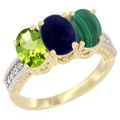 14K Yellow Gold Natural Peridot, Lapis and Malachite Ring 3-Stone Oval 7x5 mm, sizes 5 - 10 >>> Special  product just for you. See it now! : Jewelry Ring Bands