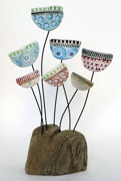 Jazz Meadow by Shirley Vauvelle in Sculpture Archive, Sculpture using Earthenware and driftwood. Ceramic Flowers, Clay Flowers, Polymer Clay Projects, Clay Crafts, Paperclay, Driftwood Art, Ceramic Clay, Wire Art, Clay Art