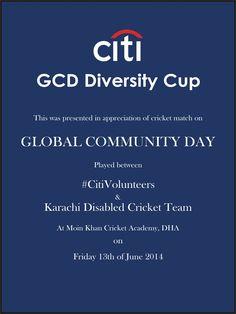 iti Pakistan organizes Citi GCD Diversity Cup to celebrate Company's Ninth Annual Global Community Day