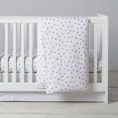Silver Dot Crib Bedding | The Land of Nod