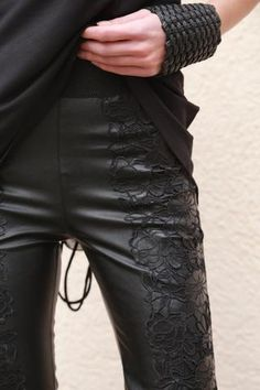 Black Lace and Faux Leather Pants