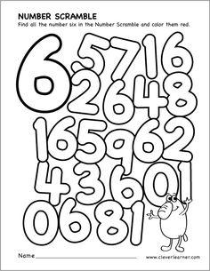 Number scramble activity worksheet for number 6 for preschool children Numbers Preschool, Learning Numbers, Preschool Curriculum, Kindergarten Worksheets, Teaching Math, Preschool Activities, Number Activities, Number Worksheets, Math For Kids