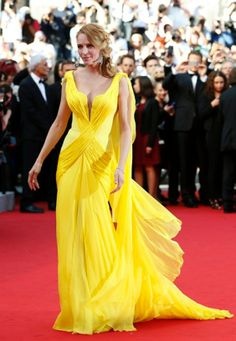 Uma Thurman, Cannes 2014. Custom-made Atelier Versace couture gown.