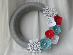 Holiday Wreath Blue Red White and Silver Yarn by AnitaRexDesigns
