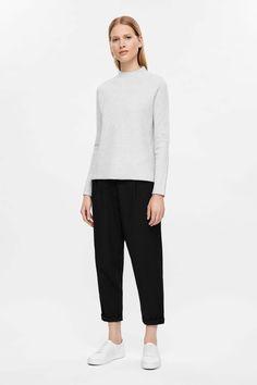 COS image 1 of Ripple jacquard jumper in Light Grey