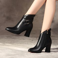 Women's British boots 2017 spring and autumn single boots leather red thick with the pointed spring high heels women boots