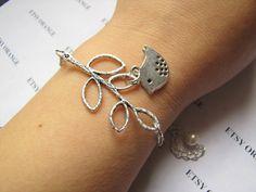 Silver bird adjustable chain beads bracelet  357S by sevenvsxiao, $6.50