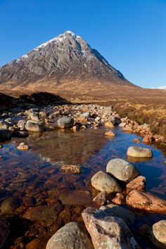Buachaille Etive Mor and reflection in the River Coupall at the head of Glen Etive, Glen Coe end of Rannoch Moor, Highlands, Scotland, United Kingdom, Europe