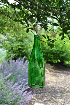 Recycled repurposed green glass luminary garden light