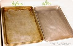 Clean cookie sheets with baking soda, hydrogen peroxide, and steel wool