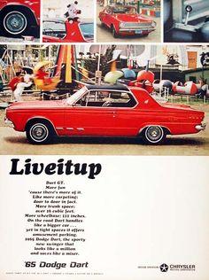 1965 Dodge Dart GT original vintage advertisement. Photographed in vivid color at the carnival.