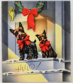 #1576 30s Scottie Dog Pair by the Front Door- Vintage Christmas Greeting Card