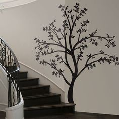 Large Silhouette Tree Wall Decals, this would be a great look for a family tree portrait Tree Decals, Vinyl Wall Decals, Tree Wall Art, Tree Art, Diy Wall, Wall Decor, Tree Silhouette, Black Silhouette, Wall Murals