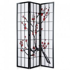 Red Lantern Black Paper Folding Indoor Privacy Screen at Lowe's. This modern adaptation of a traditional shoji screen has been printed with a blossoming cherry tree, an age-old symbol of Japan. Built from spruce and Oriental Decor, Oriental Furniture, Asian Home Decor, White Home Decor, Asian Room, 4 Panel Room Divider, Bedroom Divider, Room Dividers, Old Symbols