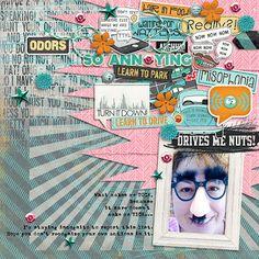 Fun & Funky Scrapbook Layout  1 photo + tags + ephemera