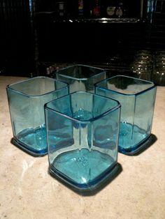 RePurposed Bombay Sapphire Rocks Glass Set of 4 by repurposedglass Liquor Bottles, Glass Bottles, Wine Glass, Bottle Art, Bottle Crafts, Recycled Art, Repurposed, Bottle Slumping, Bombay Sapphire