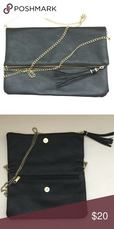 H&M Handbag!! Black leather (faux) clutch with gold hardware!! Use as Crossbody or shoulder bag by adjusting the chain!! Gently used!! Excellent condition!! Bags Clutches & Wristlets