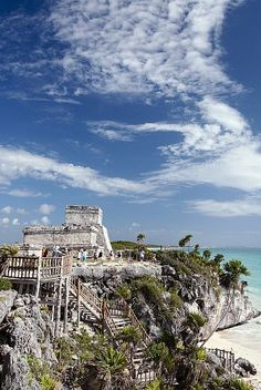 Mexico, Quintana Roo, Tulum, The Mayan Ruins of Tulum, The Castle Stairway Leading To The Beach.