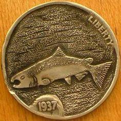 DAVID JONES HOBO NICKEL - SALMON* - 1937 BUFFALO NICKEL Hobo Nickel, David Jones, Buffalo, Salmon, Coins, Fishing, Money, Usa, Paper
