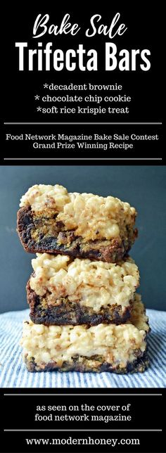 Bake Sale Trifecta Bars made with decadent brownie, ultimate chocolate chip cookie, and a soft marshmallow rice krispie treat. It\'s the crowd pleasing dessert bar that won the grand prize in the Food Network Magazine Bake Sale Contest.
