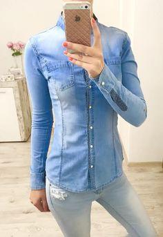 Rifľová košeľa so stojačikom Denim, Jackets, Tops, Women, Fashion, Down Jackets, Moda, Fashion Styles, Fashion Illustrations