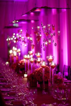 Jewels candles hanging, candles floating, and dramatic uplighting? Rustic Wedding Decorations, Centerpiece Decorations, Reception Decorations, Event Decor, Wedding Centerpieces, Floral Centerpieces, Reception Seating, Centrepieces, Hot Pink Weddings
