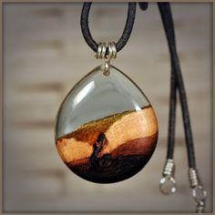Equilart's product - Wood and resin drop pendant - Equilart - art and craft marketplace